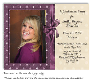 Dark Pink Invitation Photo Graduation Magnet