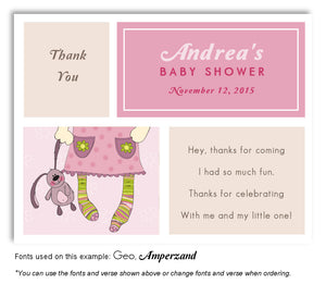 Pink-Tan Stocking Feet Thank You Baby Shower Magnet