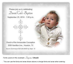Light Gray Filigree Cross Invitation Photo Baptism Magnet