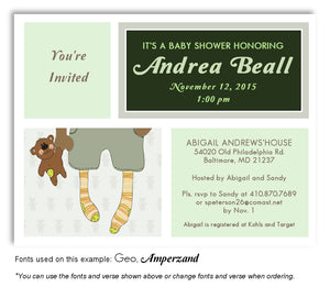 Greens Stocking Feet Invitation Baby Shower Magnet
