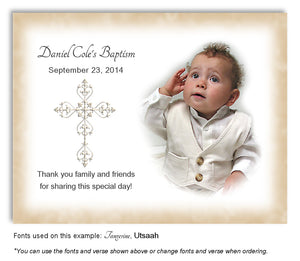 Light Gold Filigree Cross Thank You Photo Baptism Magnet