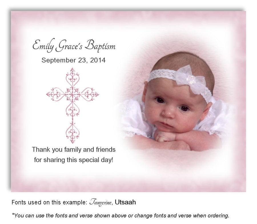 Denim Blue Filigree Cross Thank You Photo Baptism Magnet