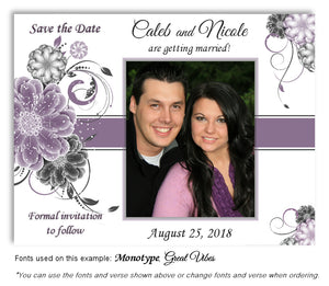 Plum Floral Pop Save the Date Wedding Photo Magnet