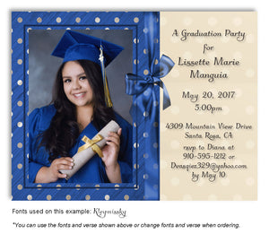 Royal Blue Invitation Photo Graduation Magnet