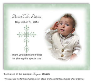 Sage Green Filigree Cross Thank You Photo Baptism Magnet