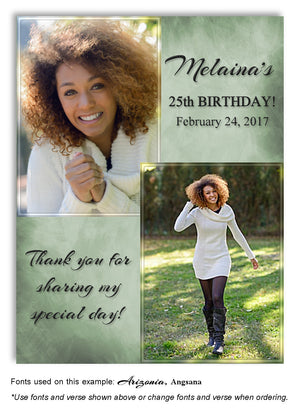 Sage-Green Soft Impressions Thank You Photo Birthday Magnet