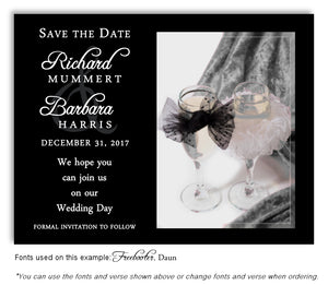 Silver Toast for Two Save the Date Wedding Magnet