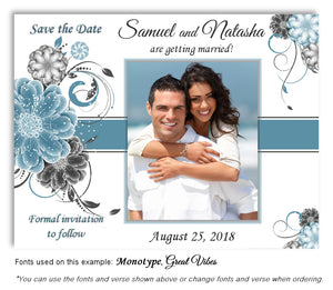 Steel Blue Floral Pop Save the Date Wedding Photo Magnet