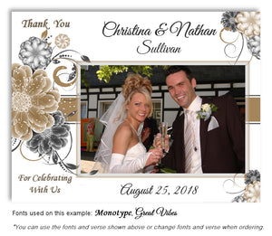 Taupe Floral Pop Thank You Wedding Photo Magnet