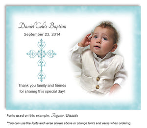 Light Turquoise Filigree Cross Thank You Photo Baptism Magnet