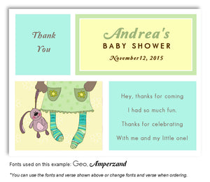 Turquoise-Yellow-Green Stocking Feet Thank You Baby Shower Magnet
