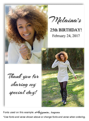 White Soft Impressions Thank You Photo Birthday Magnet