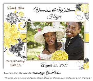 Yellow Floral Pop Thank You Wedding Photo Magnet
