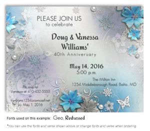 Sky Blue Garden Party Invitation Anniversary Magnet