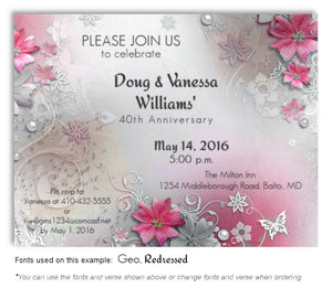 Dark Pink Garden Party Invitation Anniversary Magnet