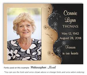 Black Floral Memorial Photo Magnet