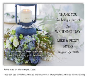 Blue Lantern Thank You Wedding Magnet
