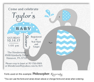 Deep Sky Blue Elephant Invitation Baby Shower Magnet