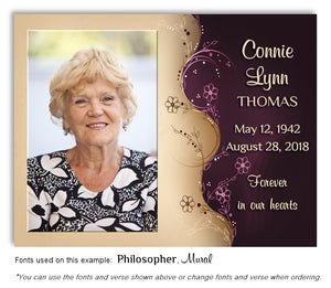 Burgundy Floral Memorial Photo Magnet