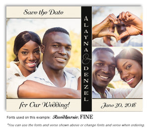 Cream Black Trio Save the Date Wedding Photo Magnet