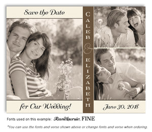 Cream Brown Trio Save the Date Wedding Photo Magnet