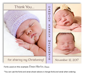 Cream-Lavender Thank You Baptism Trio Photo Magnet