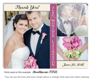 Cream Mauve Trio Thank You Wedding Photo Magnet