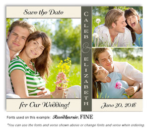 Cream Olive Trio Save the Date Wedding Photo Magnet