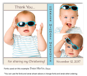 Cream-Sky-Blue Thank You Baptism Trio Photo Magnet
