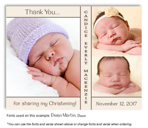 Cream Thank You Baptism Trio Photo Magnet