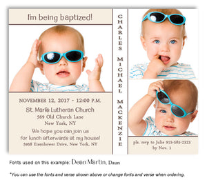Cream-White Invitation Baptism Trio Photo Magnet