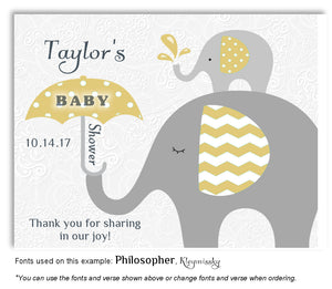 Gold Elephant Thank You Baby Shower Magnet