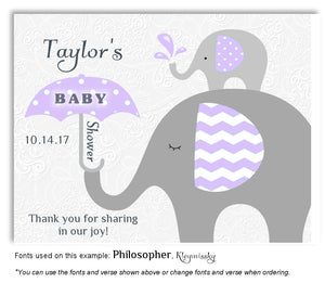Lavender Elephant Thank You Baby Shower Magnet