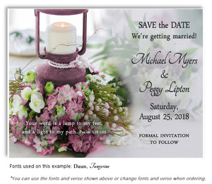 Mauve Lantern Save the Date Wedding Magnet