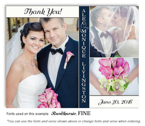 Navy White Trio Thank You Wedding Photo Magnet