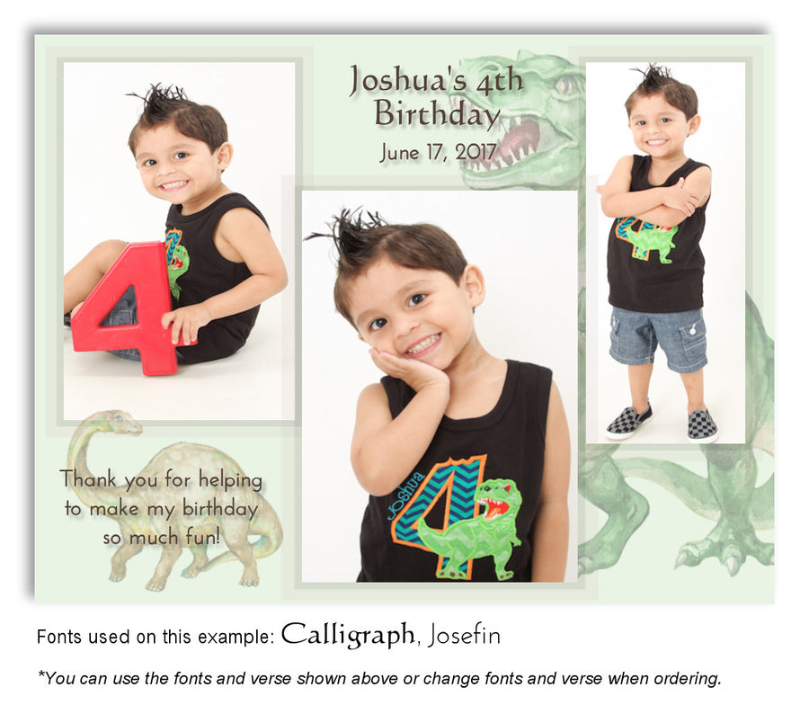 White Dinosaur Thank You Birthday Photo Magnet