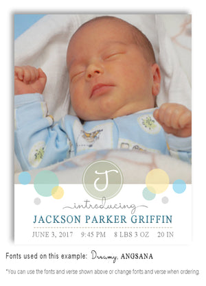 Pastels-1 Photo Birth Announcement Magnet