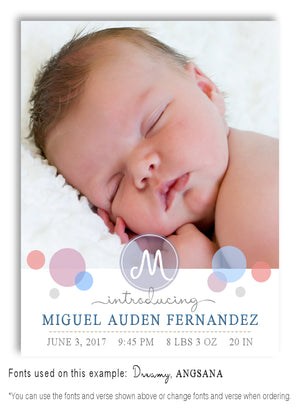 Pastels-2 Photo Birth Announcement Magnet