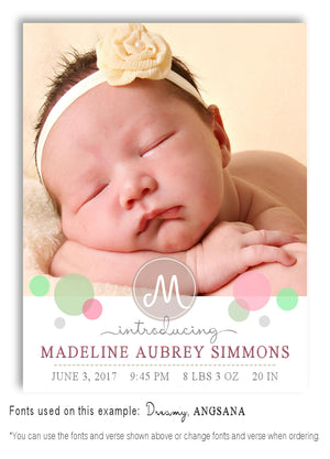 Pastels-3 Photo Birth Announcement Magnet