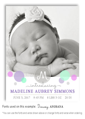 Pastels-4 Photo Birth Announcement Magnet
