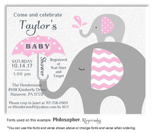 Pink Elephant Invitation Baby Shower Magnet
