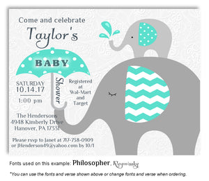 Turquoise Elephant Invitation Baby Shower Magnet