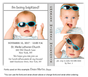 White-Light-Gray Invitation Baptism Trio Photo Magnet