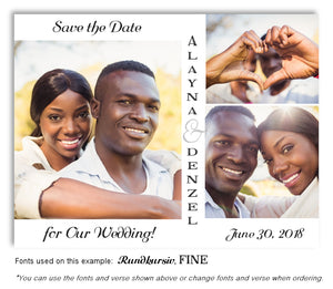 White Trio Save the Date Wedding Photo Magnet
