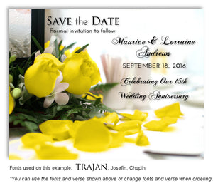 15th Yellow Roses Save the Date Anniversary Magnet