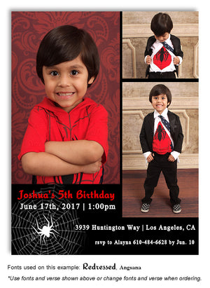 Black Only Spider Web Invitation Photo Birthday Magnet