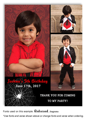 Black Only Spider Web Thank You Photo Birthday Magnet