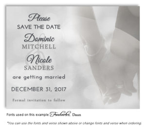 Black and White Hand in Hand Save the Date Wedding Magnet