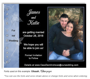Blue-Black Save the Date Wedding Photo Magnet
