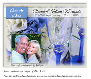 Blue Wine and Roses Save the Date Anniversary Photo Magnet